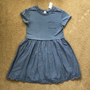 NWT Gap Kids Blue Eyelet T-shirt Dress size 10